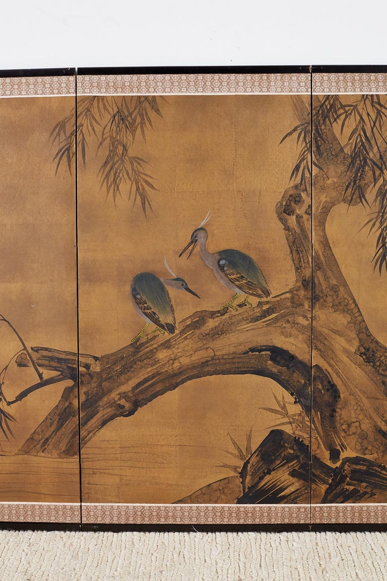 Japanese Four-Panel Screen Blue Herons on Willow Tree In Good Condition For Sale In Rio Vista, CA