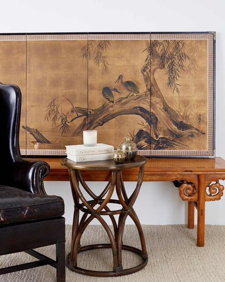 20th Century Japanese Four-Panel Screen Blue Herons on Willow Tree For Sale