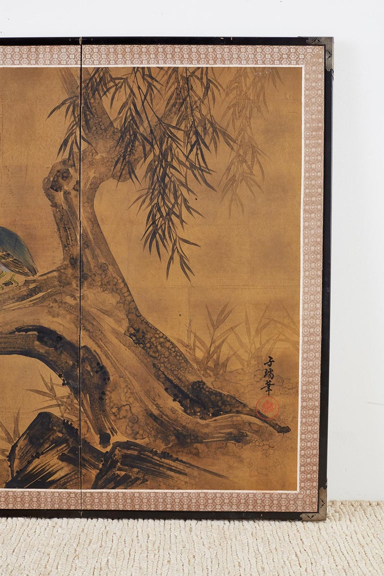 Wood Japanese Four-Panel Screen Blue Herons on Willow Tree For Sale