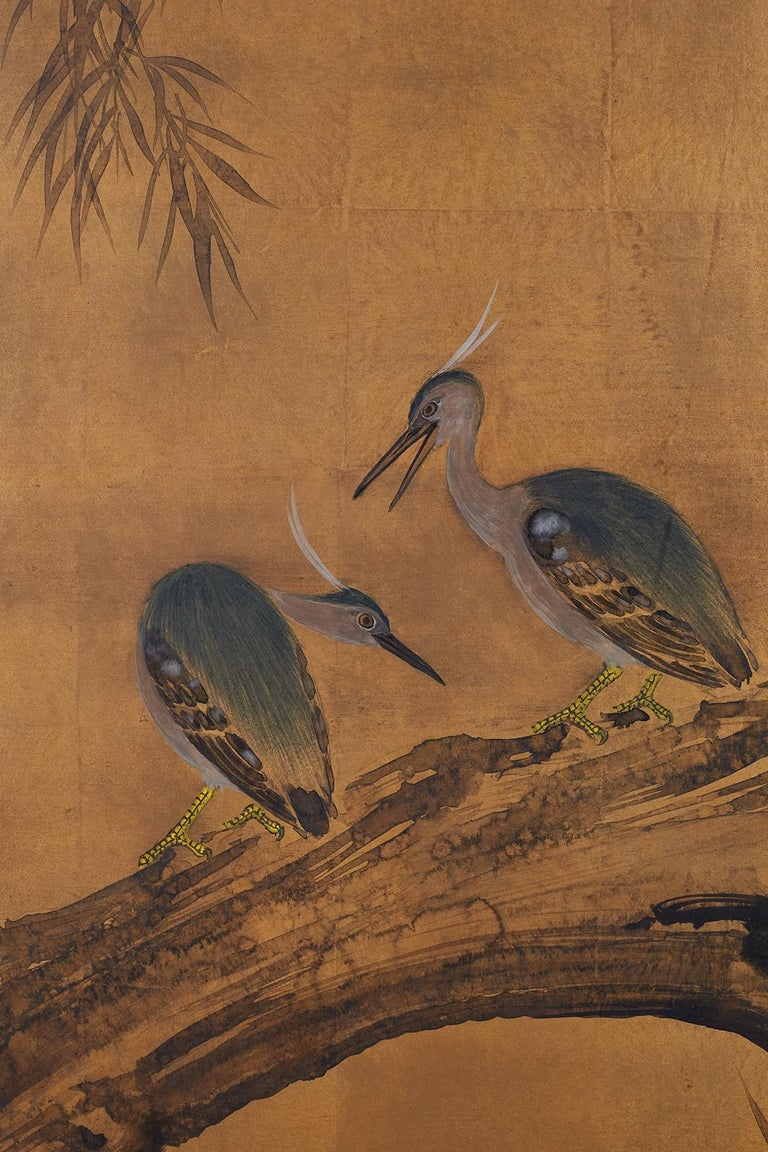 Japanese Four-Panel Screen Blue Herons on Willow Tree For Sale 1