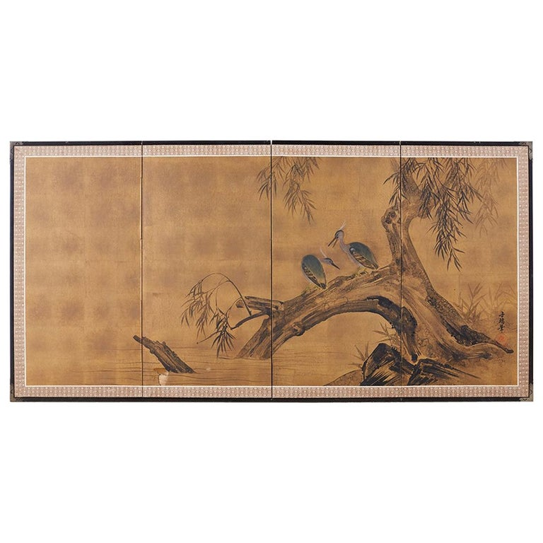 Japanese Four-Panel Screen Blue Herons on Willow Tree For Sale