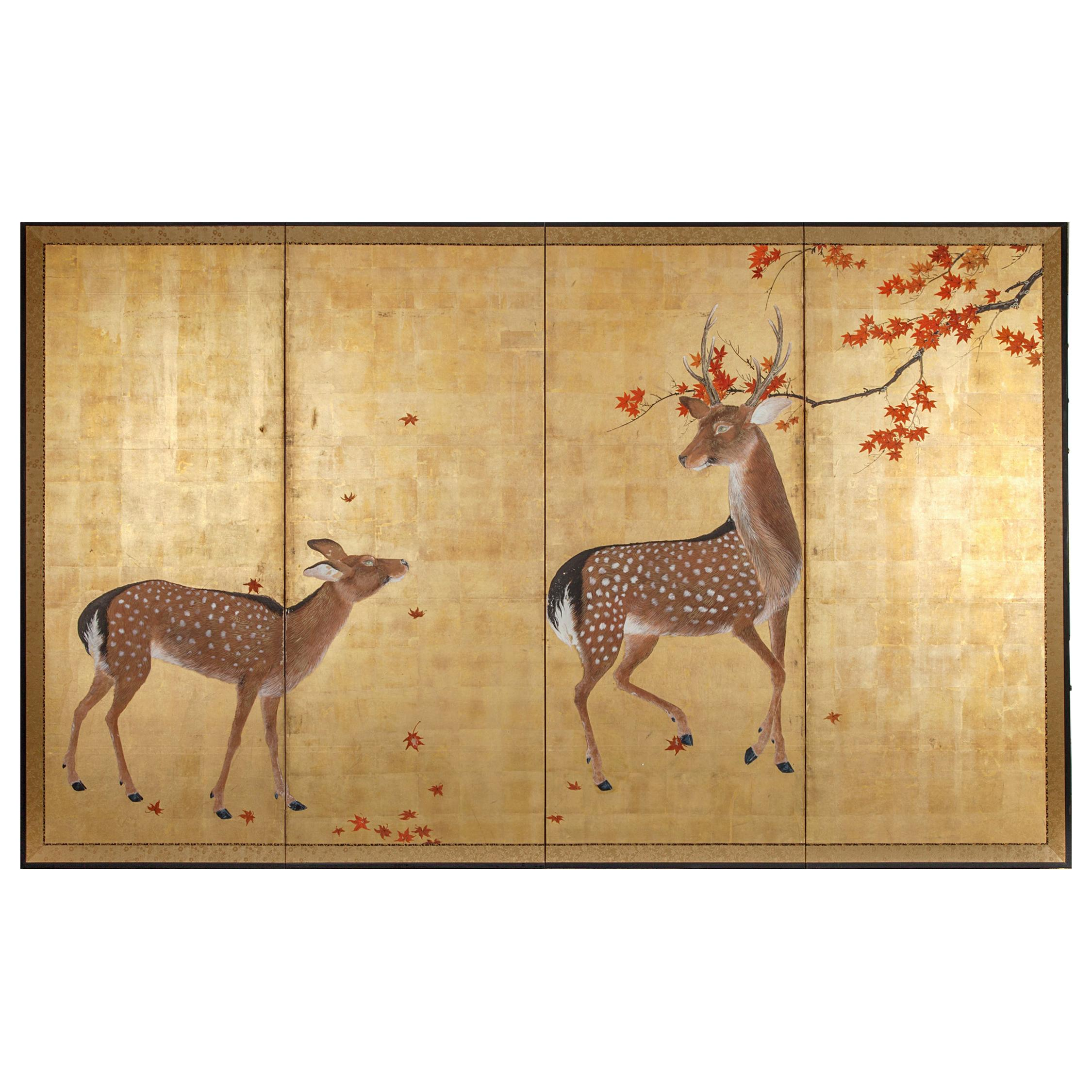 Japanese Four Panel Screen Buck and Doe with Autumn Maple on Gold