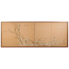 Japanese Four-Panel Screen Cherry in the Moonlight