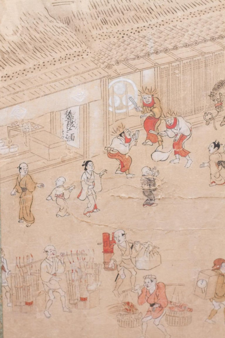 18th Century and Earlier Japanese Four Panel Screen Country Genre Scene For Sale