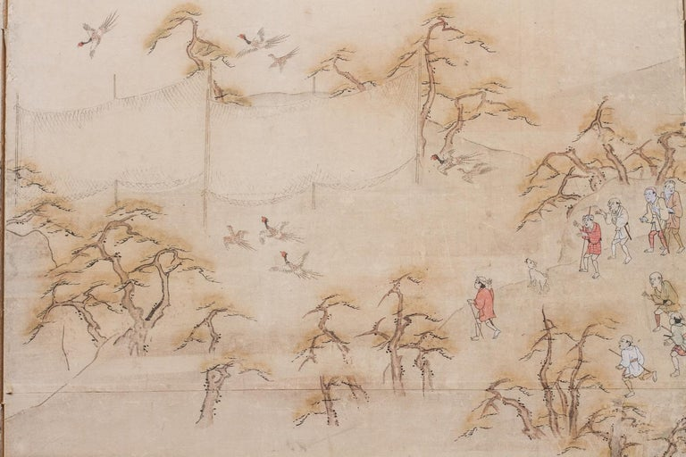 Japanese Four Panel Screen Country Genre Scene For Sale 1