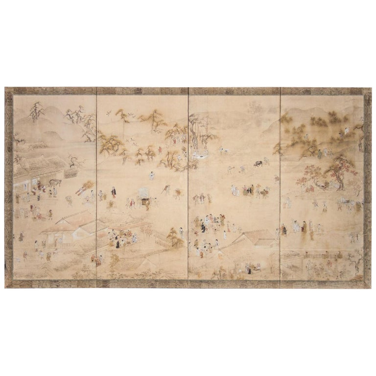 Japanese Four Panel Screen Country Genre Scene For Sale
