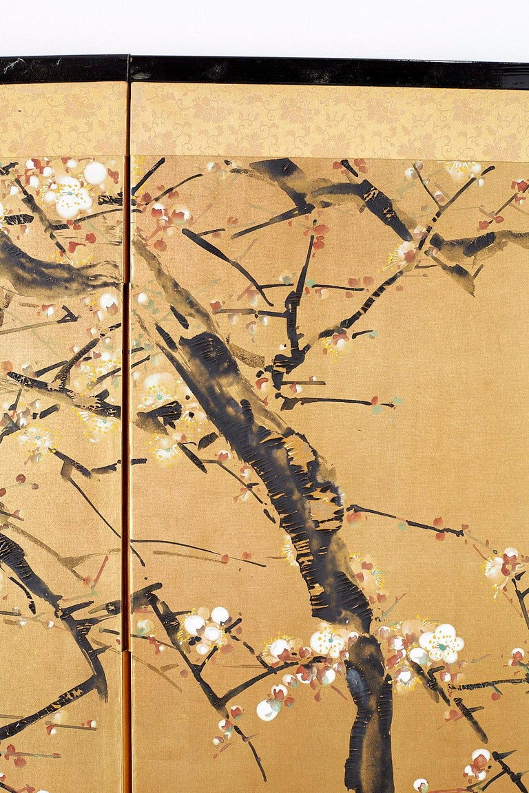 Japanese Four Panel Screen Flowering Prunus Tree 4