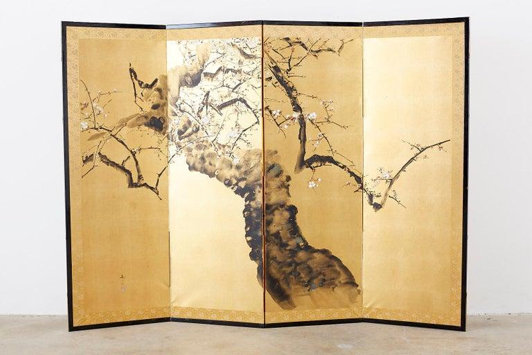 Japanese Four Panel Screen Flowering Prunus Tree 7