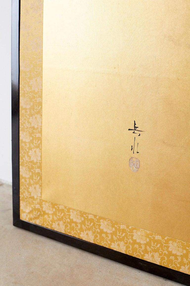 Japanese Four Panel Screen Flowering Prunus Tree 11