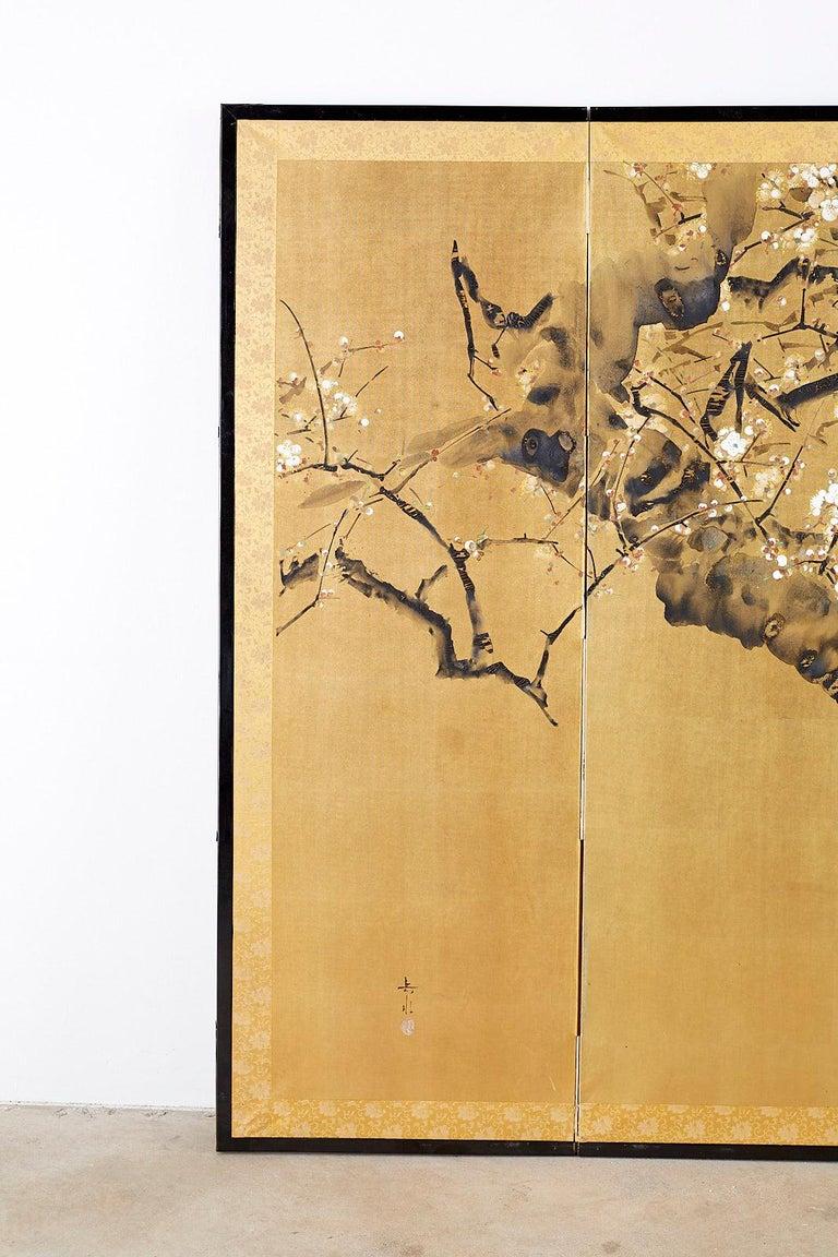Meiji Japanese Four Panel Screen Flowering Prunus Tree