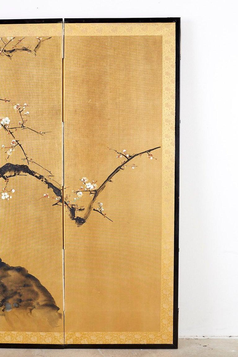 20th Century Japanese Four Panel Screen Flowering Prunus Tree