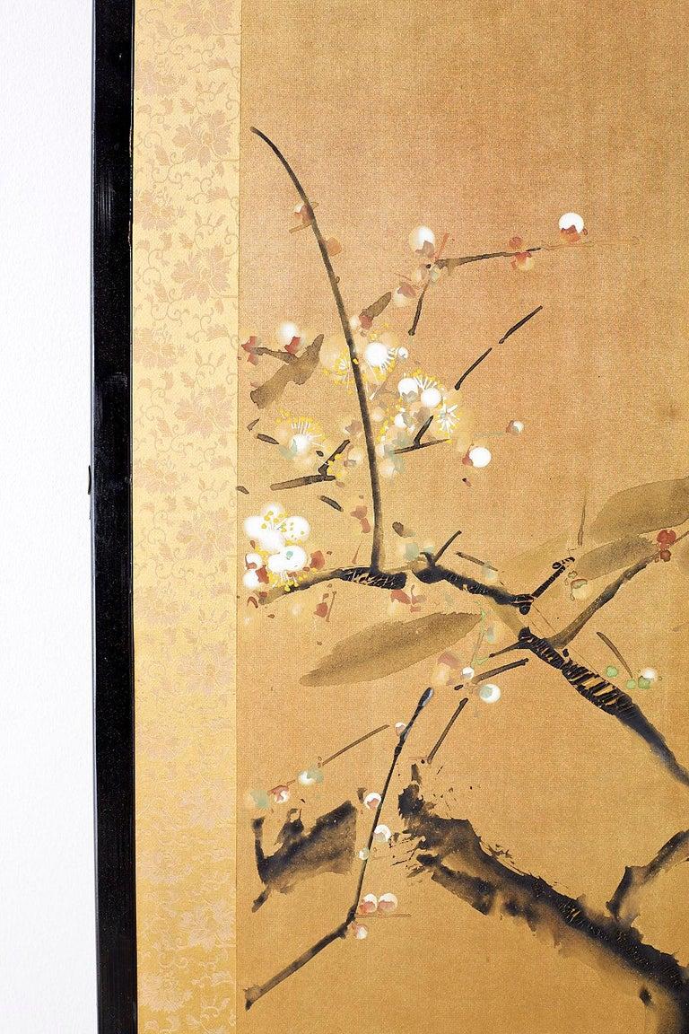 Wood Japanese Four Panel Screen Flowering Prunus Tree