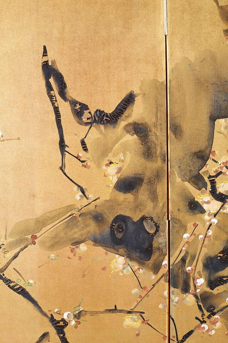 Japanese Four Panel Screen Flowering Prunus Tree 1