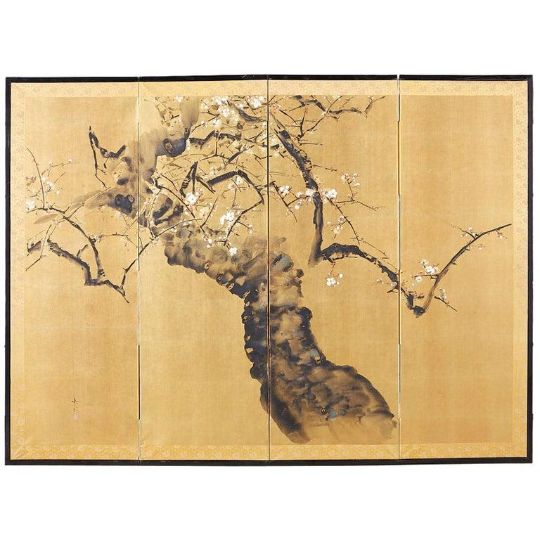 Japanese Four Panel Screen Flowering Prunus Tree