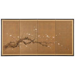 Japanese Four-Panel Screen Flowering Prunus Tree
