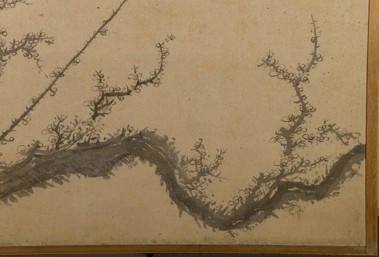 Japanese Four-Panel Screen Four Fusuma 'Sliding Doors' with Venerable Plum For Sale 5