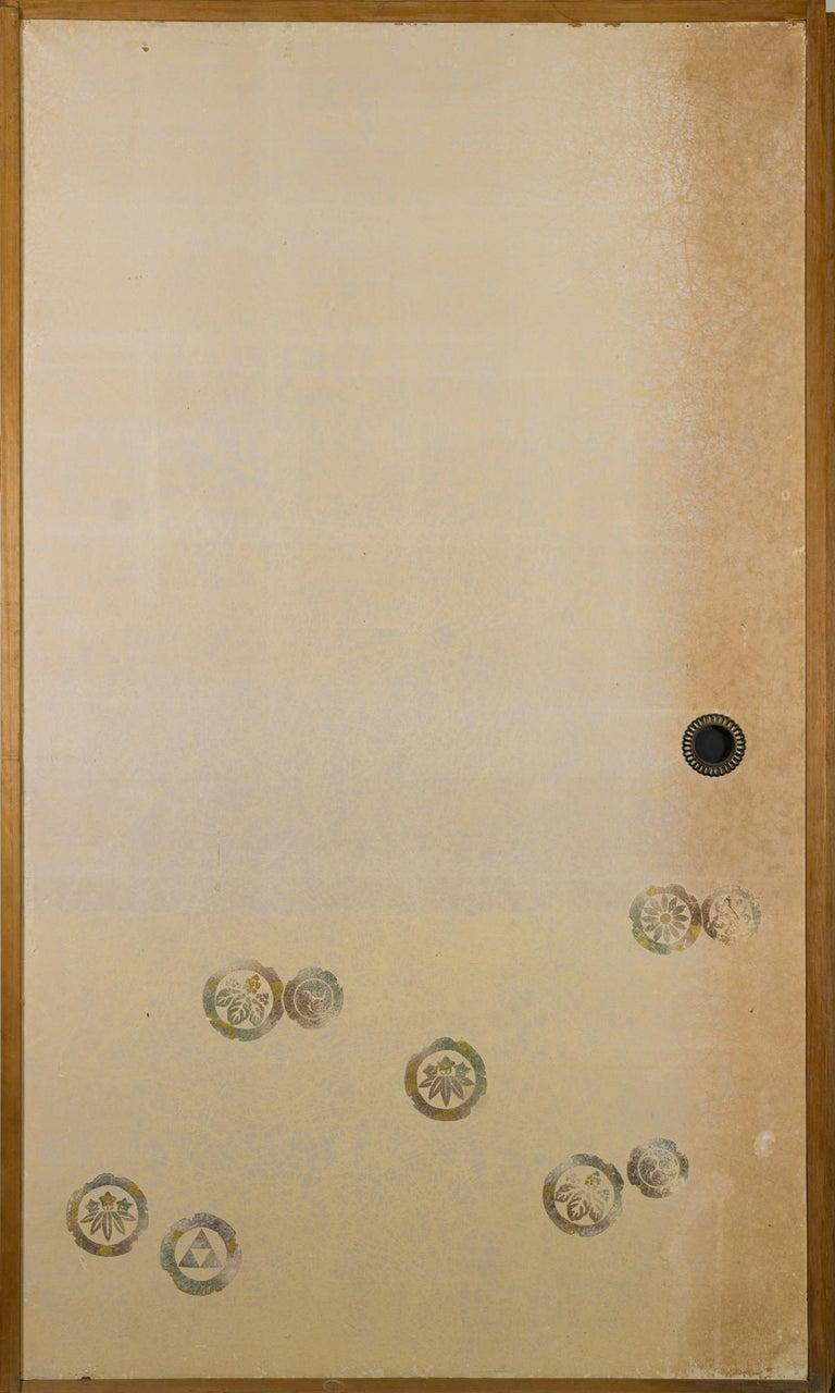 Japanese Four-Panel Screen Four Fusuma 'Sliding Doors' with Venerable Plum For Sale 13