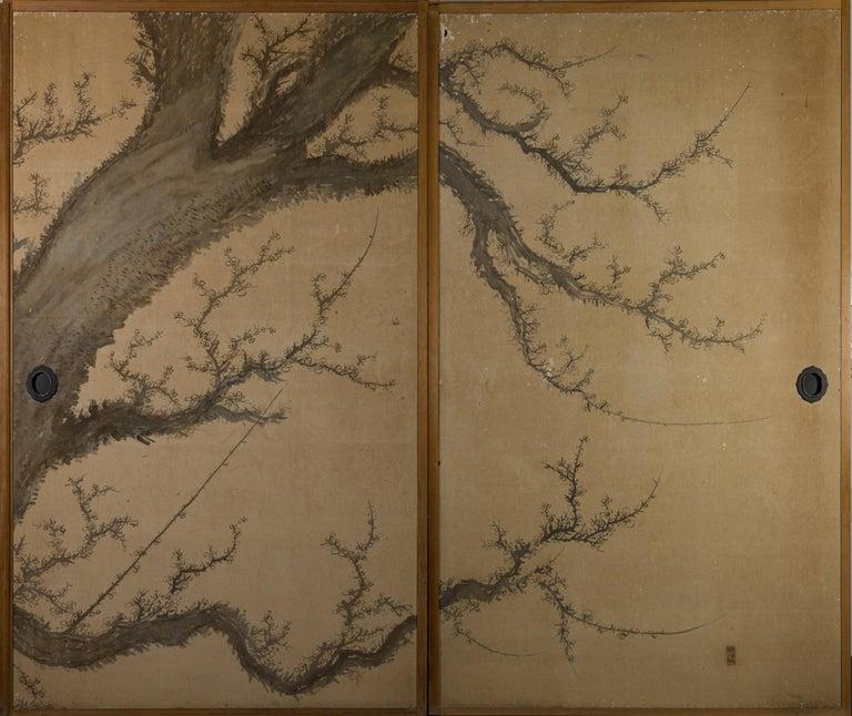 Edo Japanese Four-Panel Screen Four Fusuma 'Sliding Doors' with Venerable Plum For Sale