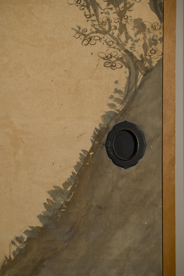 Early 19th Century Japanese Four-Panel Screen Four Fusuma 'Sliding Doors' with Venerable Plum For Sale