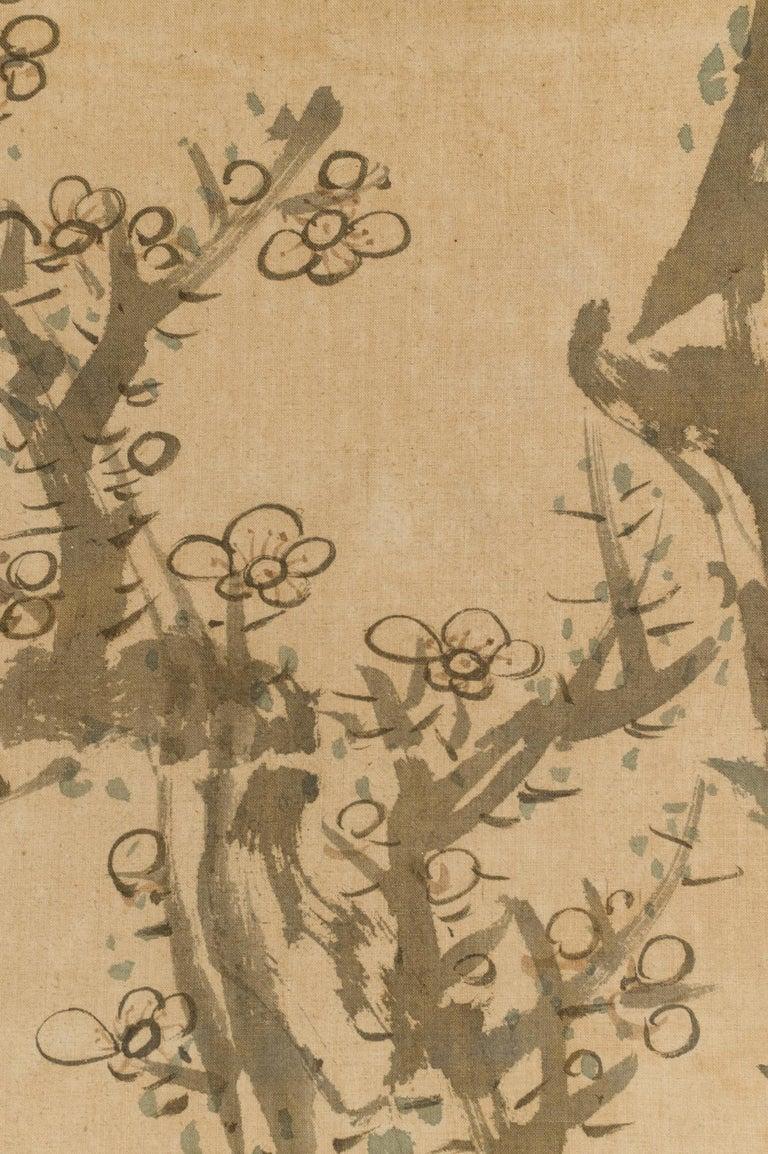 Japanese Four-Panel Screen Four Fusuma 'Sliding Doors' with Venerable Plum For Sale 1