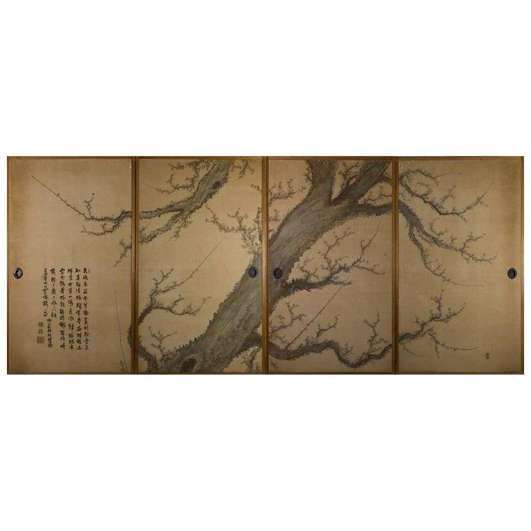 Japanese Four-Panel Screen Four Fusuma 'Sliding Doors' with Venerable Plum For Sale