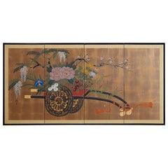 Japanese Four Panel Screen Gold Leaf Flower Cart