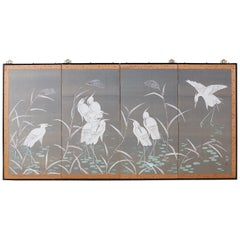 Japanese Four-Panel Screen Herons and Reeds