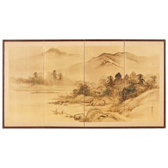 Japanese Four-Panel Screen Landscape with Fisherman