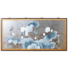 Japanese Four Panel Screen Lotus Blossom and Kingfishers