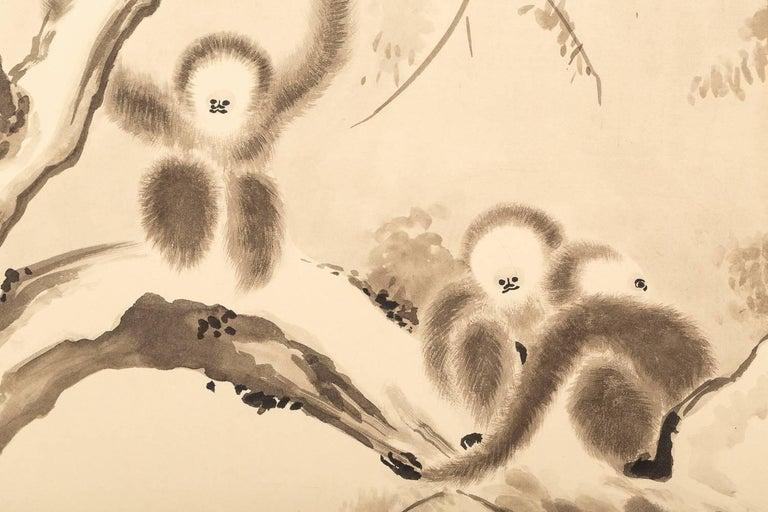 20th Century Japanese Four Panel Screen, Monkeys in Tree