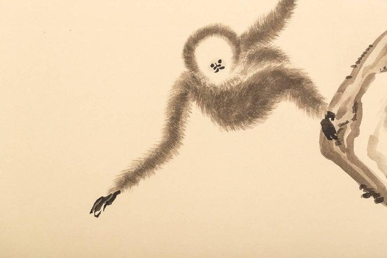 Japanese Four Panel Screen, Monkeys in Tree 1