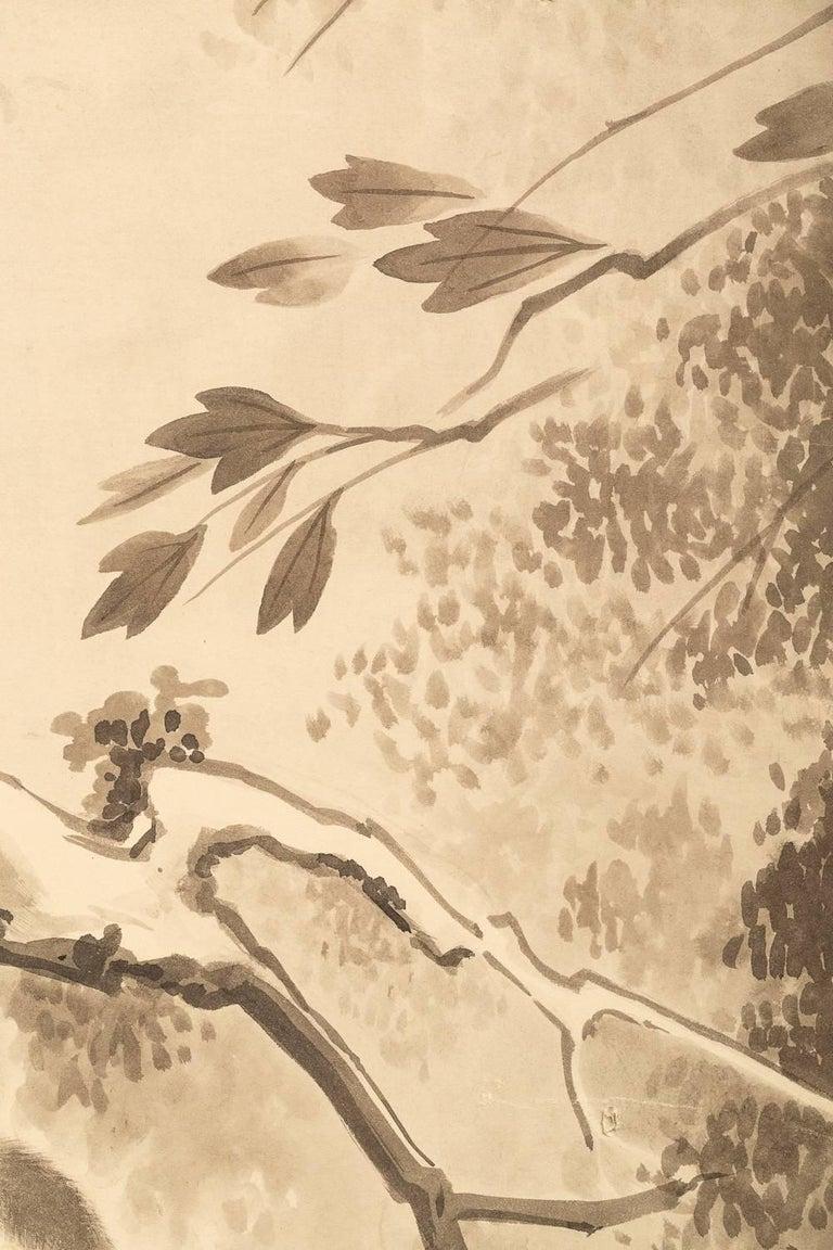 Japanese Four Panel Screen, Monkeys in Tree 2