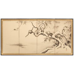 Japanese Four Panel Screen, Monkeys in Tree