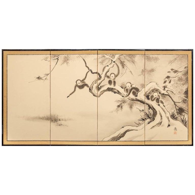 Japanese Four Panel Screen, Monkeys in Tree