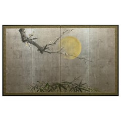Japanese Four-Panel Screen, Moonlit Plum in Bloom with Bamboo