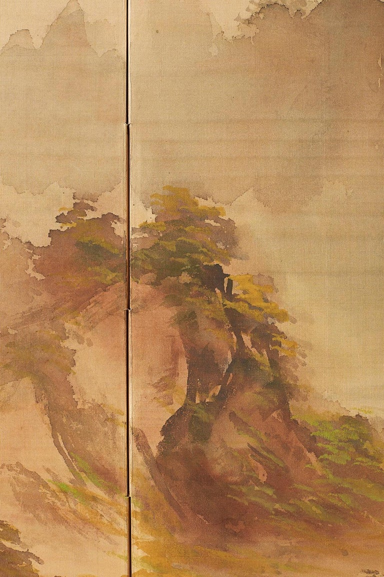 Japanese Four-Panel Screen Mountain Landscape on Silk For Sale 4