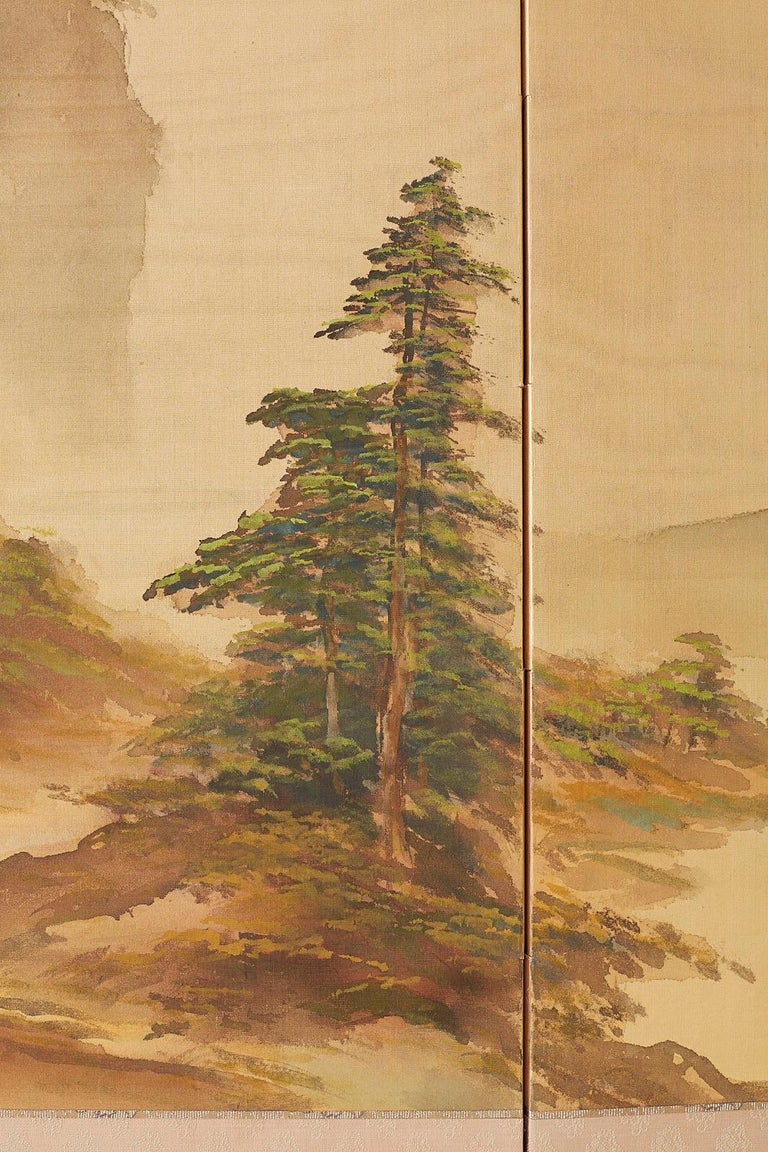 Japanese Four-Panel Screen Mountain Landscape on Silk For Sale 6
