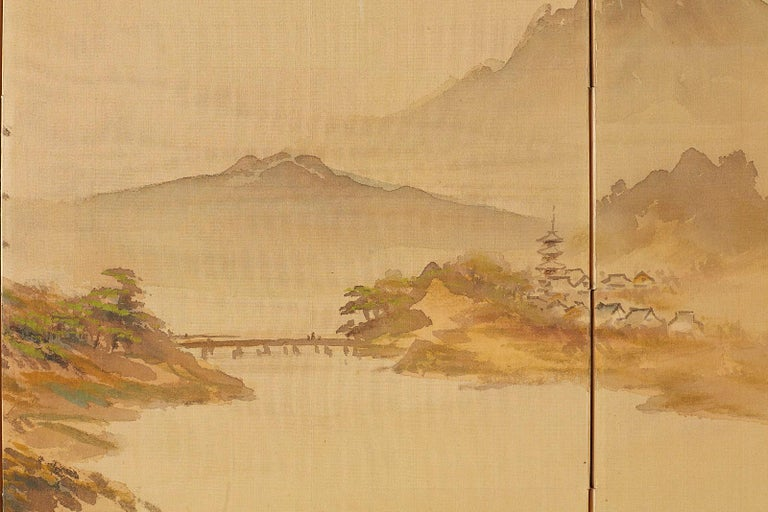 Japanese Four-Panel Screen Mountain Landscape on Silk For Sale 7