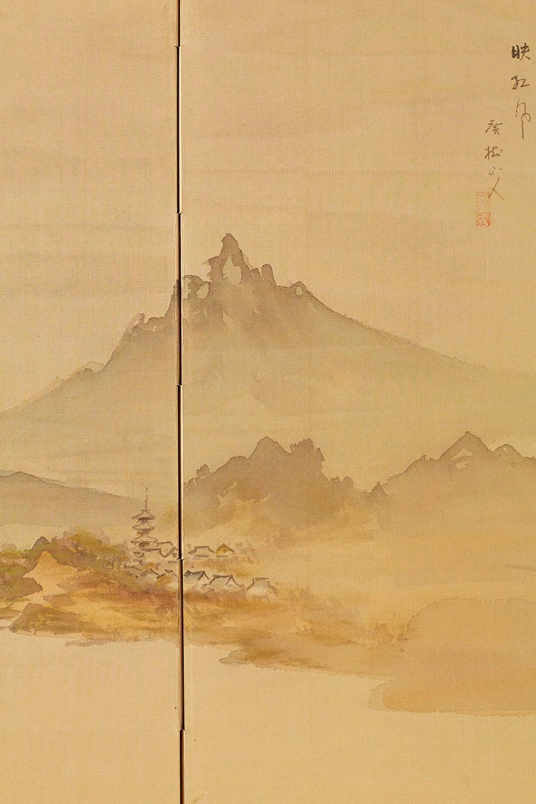Japanese Four-Panel Screen Mountain Landscape on Silk For Sale 9