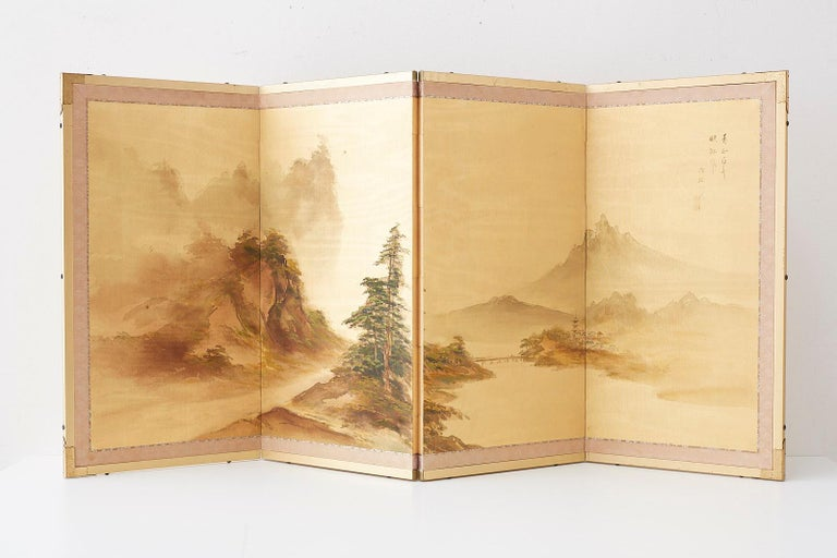 Japanese Four-Panel Screen Mountain Landscape on Silk For Sale 10