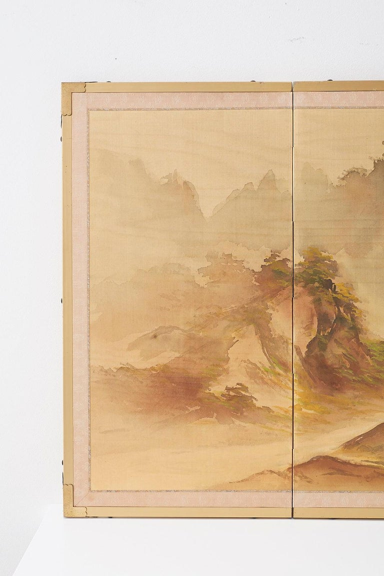 Mid-Century Modern Japanese Four-Panel Screen Mountain Landscape on Silk For Sale