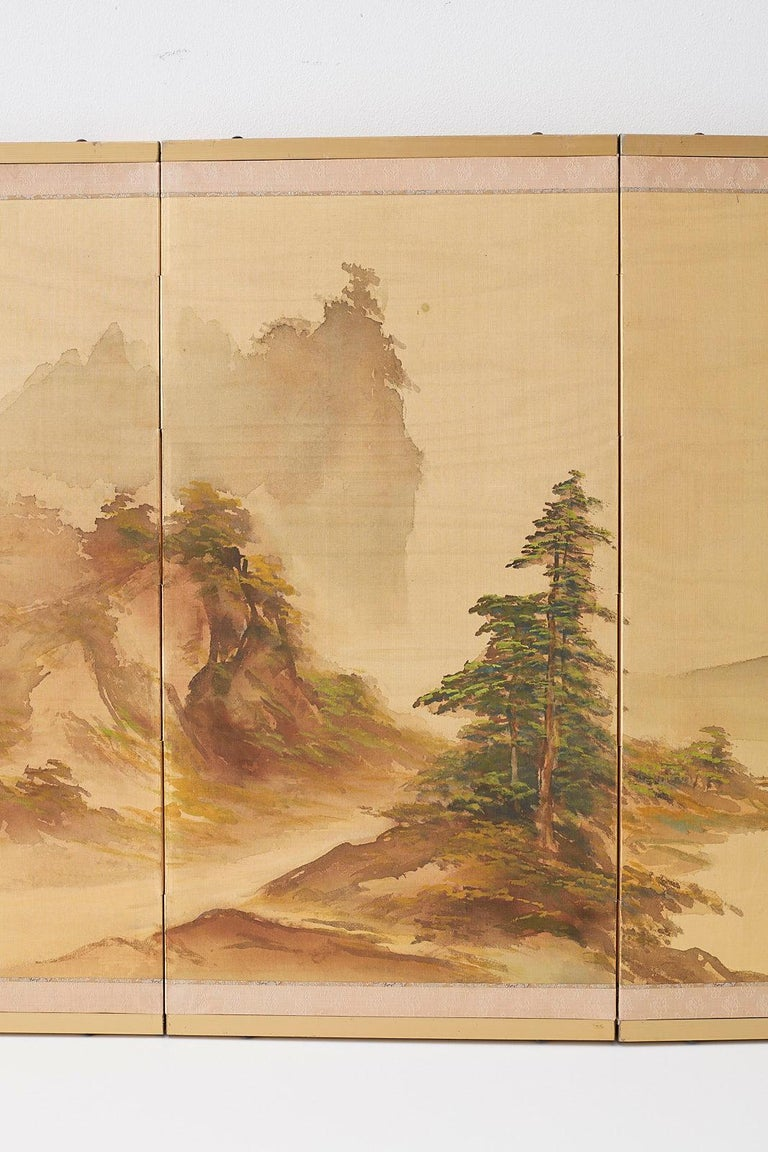 Hand-Painted Japanese Four-Panel Screen Mountain Landscape on Silk For Sale