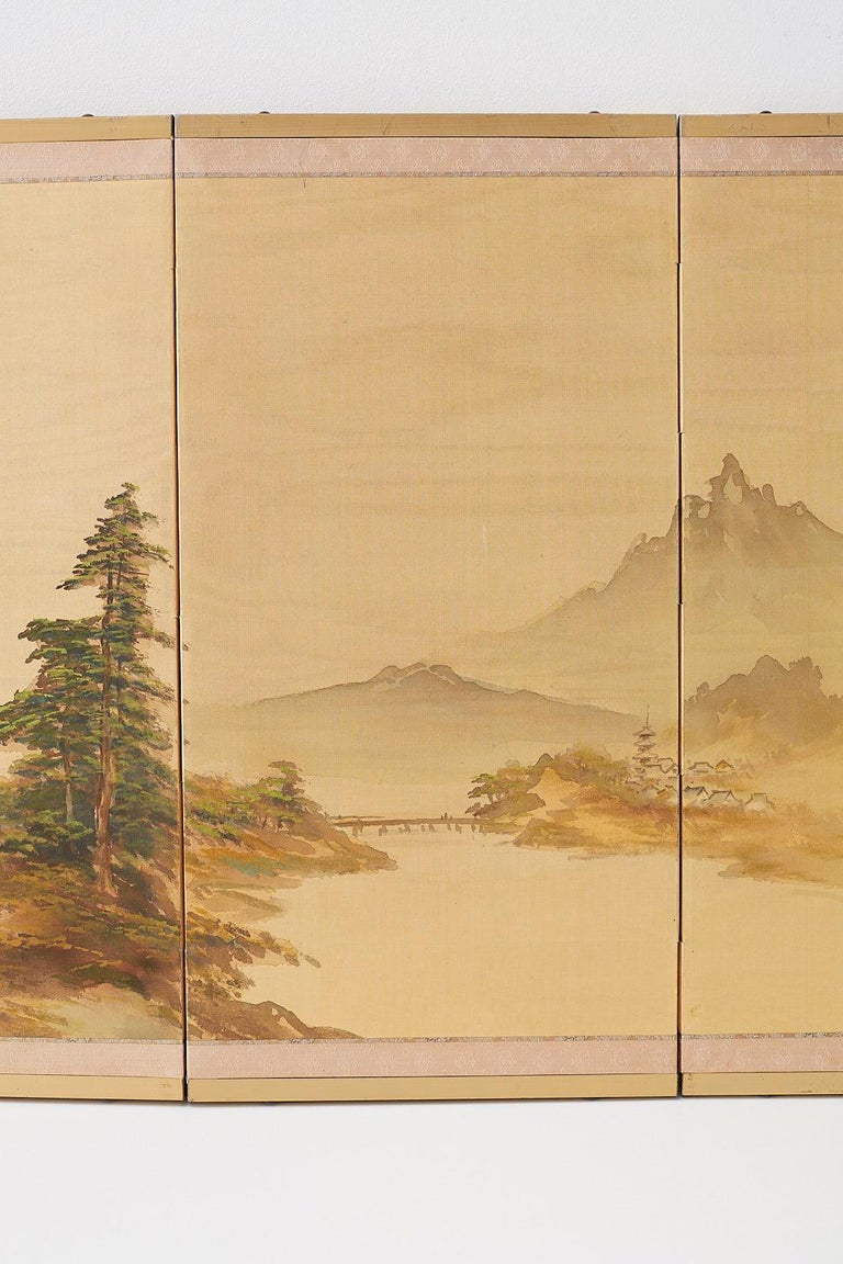 Japanese Four-Panel Screen Mountain Landscape on Silk In Good Condition For Sale In Oakland, CA