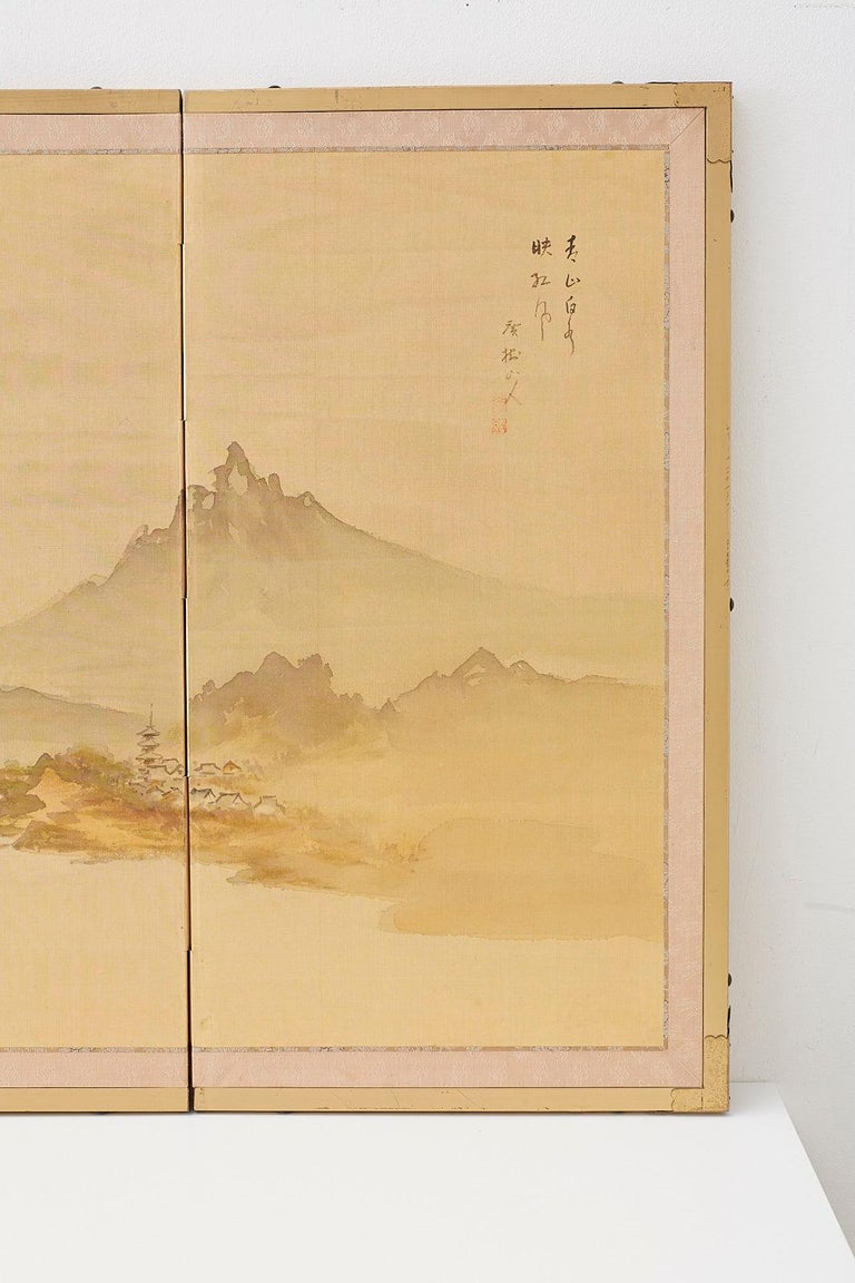 20th Century Japanese Four-Panel Screen Mountain Landscape on Silk For Sale