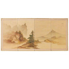 Japanese Four-Panel Screen Mountain Landscape on Silk
