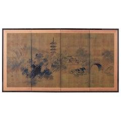 Japanese Four-Panel Screen of Pagoda Bridge Landscape