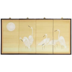 Japanese Four-Panel Screen of White Cranes and Moon