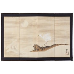 Japanese Four-Panel Screen of White Egret with Waves