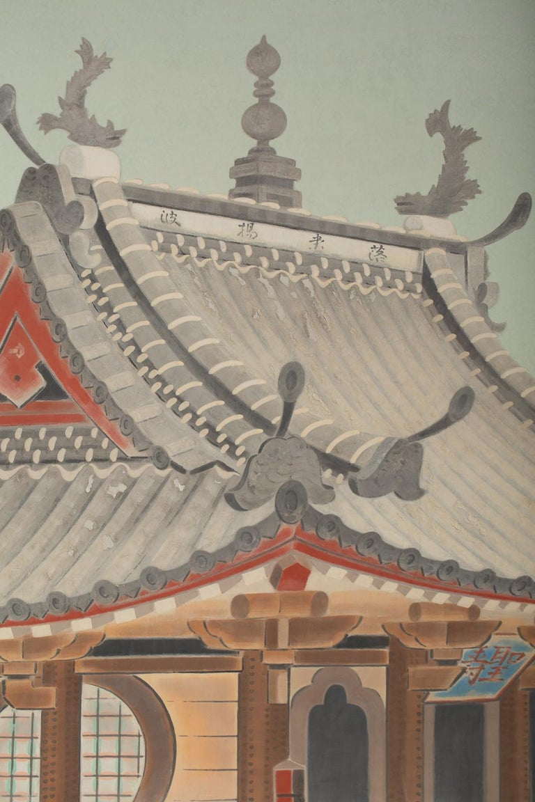 Okinawa paintings are few and far between and have different colors and textures from other Japanese screens. Vibrant mineral pigments on a soft ground of mulberry paper, signature and seal read Nakamura Shunyo.