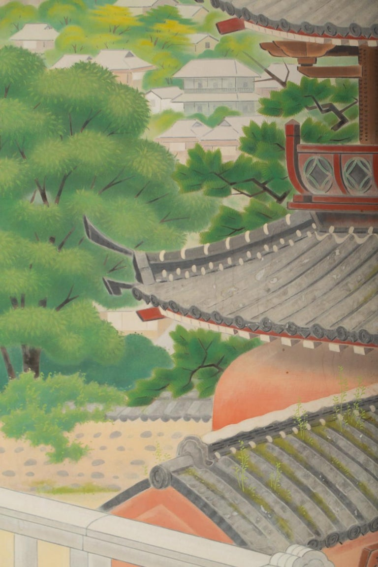 Japanese Four Panel Screen, Okinawa Painting of a Temple Scene In Excellent Condition For Sale In Hudson, NY